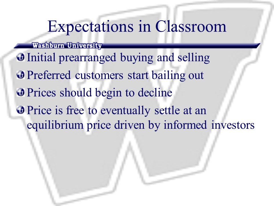 Expectations in Classroom Initial prearranged buying and selling Preferred customers start bailing out Prices should begin to decline Price is free to eventually settle at an equilibrium price driven by informed investors