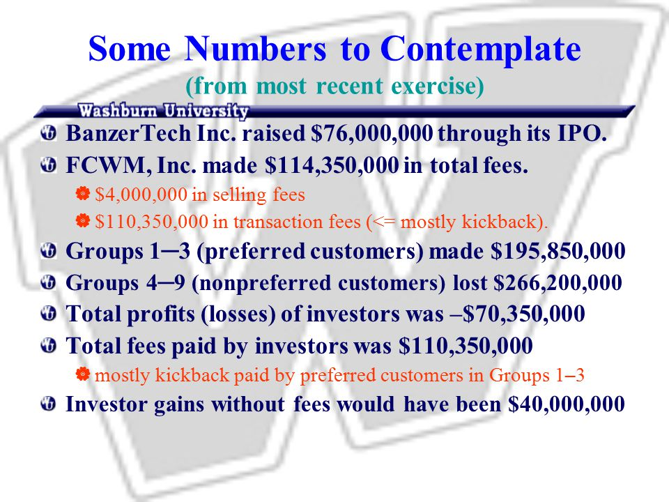 Some Numbers to Contemplate (from most recent exercise) BanzerTech Inc.