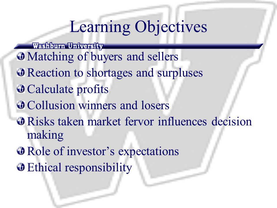 Learning Objectives Matching of buyers and sellers Reaction to shortages and surpluses Calculate profits Collusion winners and losers Risks taken market fervor influences decision making Role of investor's expectations Ethical responsibility