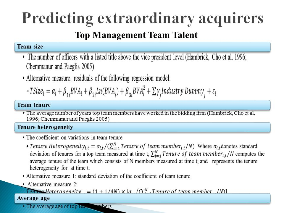 Team size Team tenure The average number of years top team members have worked in the bidding firm (Hambrick, Cho et al. 1996; Chemmanur and Paeglis 2
