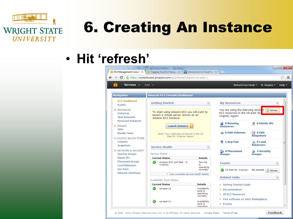 6. Creating An Instance Hit 'refresh'
