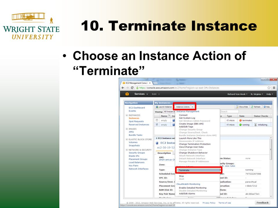 """10. Terminate Instance Choose an Instance Action of """"Terminate"""""""
