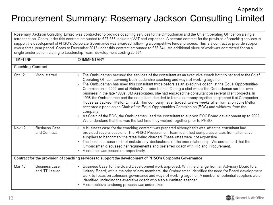 Procurement Summary: Rosemary Jackson Consulting Limited 13 Appendix Rosemary Jackson Consulting Limited was contracted to provide coaching services t