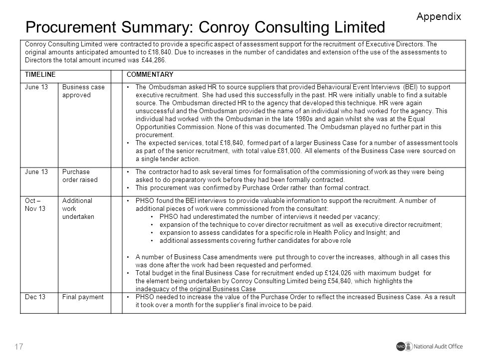 Procurement Summary: Conroy Consulting Limited 17 Appendix Conroy Consulting Limited were contracted to provide a specific aspect of assessment suppor