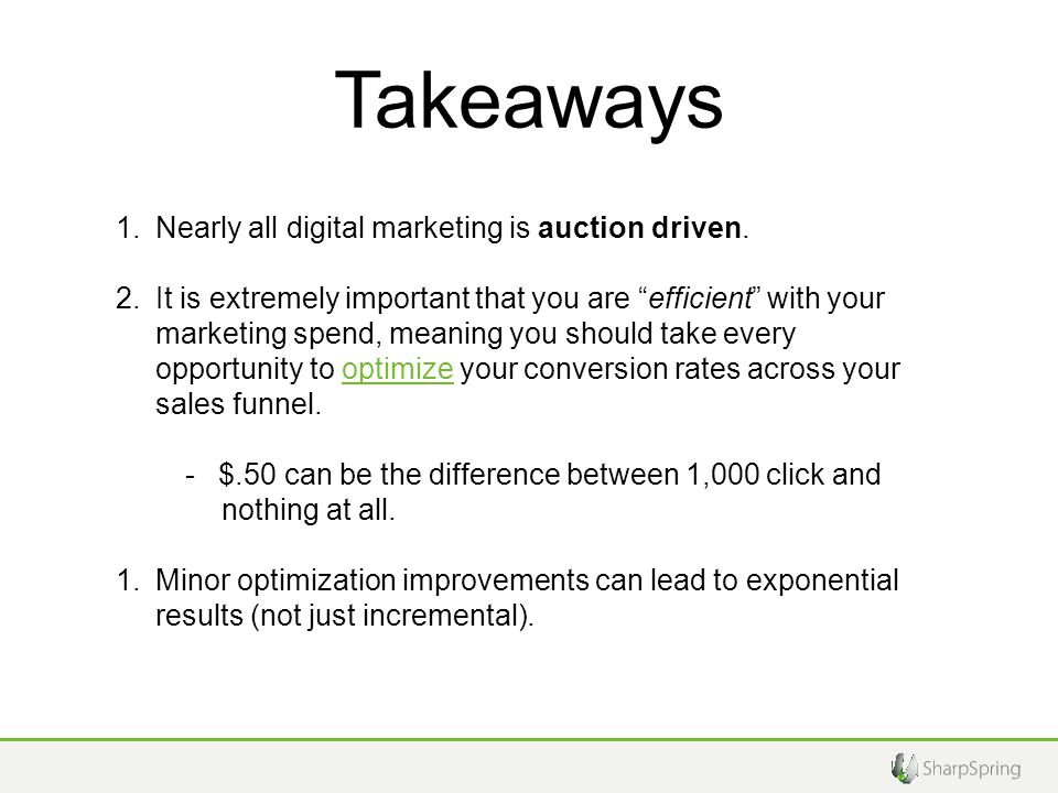 Takeaways 1.Nearly all digital marketing is auction driven.