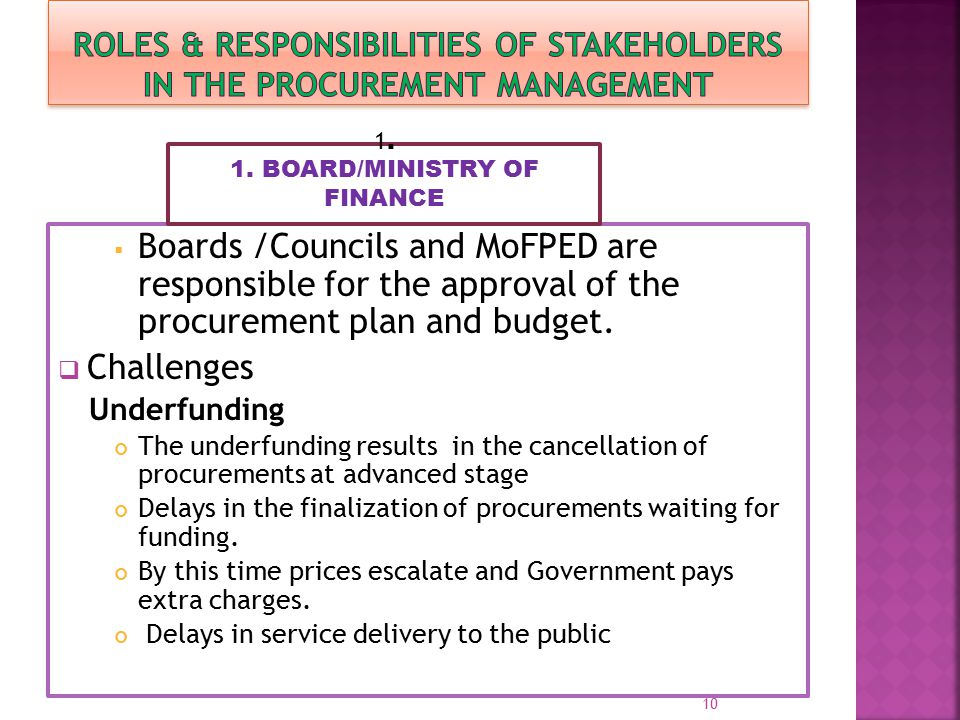  Boards /Councils and MoFPED are responsible for the approval of the procurement plan and budget.  Challenges Underfunding The underfunding results