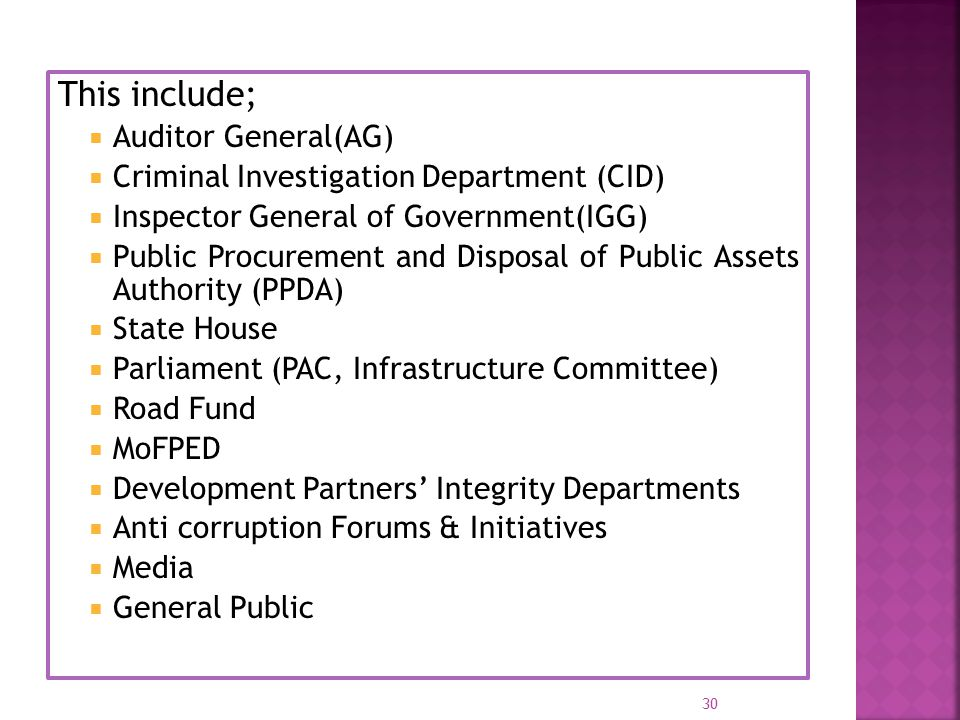 This include;  Auditor General(AG)  Criminal Investigation Department (CID)  Inspector General of Government(IGG)  Public Procurement and Disposal
