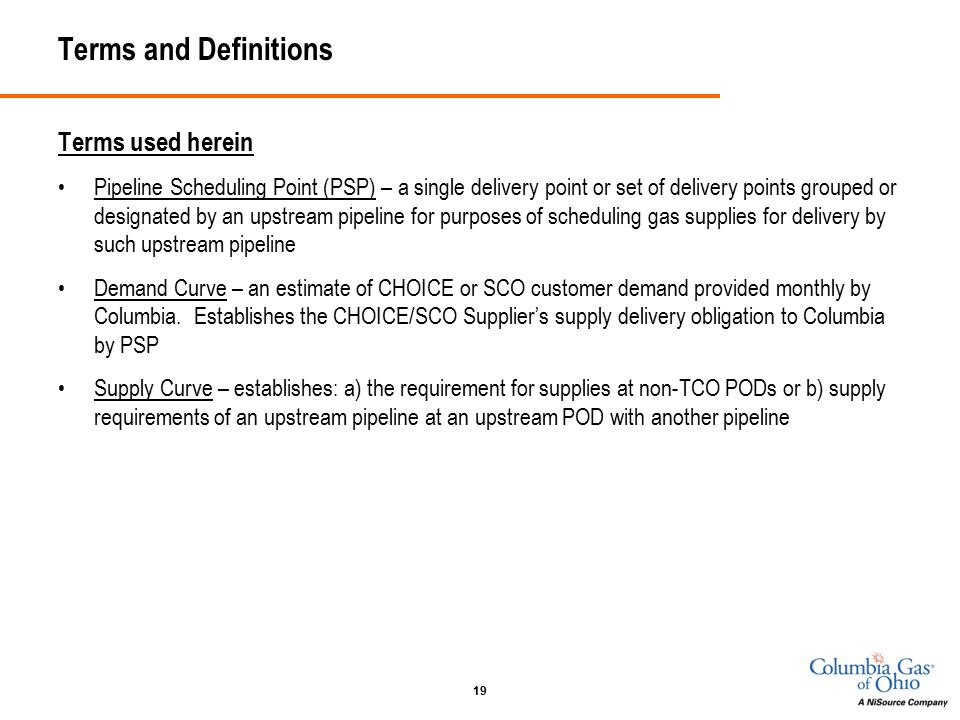 19 Terms and Definitions Terms used herein Pipeline Scheduling Point (PSP) – a single delivery point or set of delivery points grouped or designated by an upstream pipeline for purposes of scheduling gas supplies for delivery by such upstream pipeline Demand Curve – an estimate of CHOICE or SCO customer demand provided monthly by Columbia.