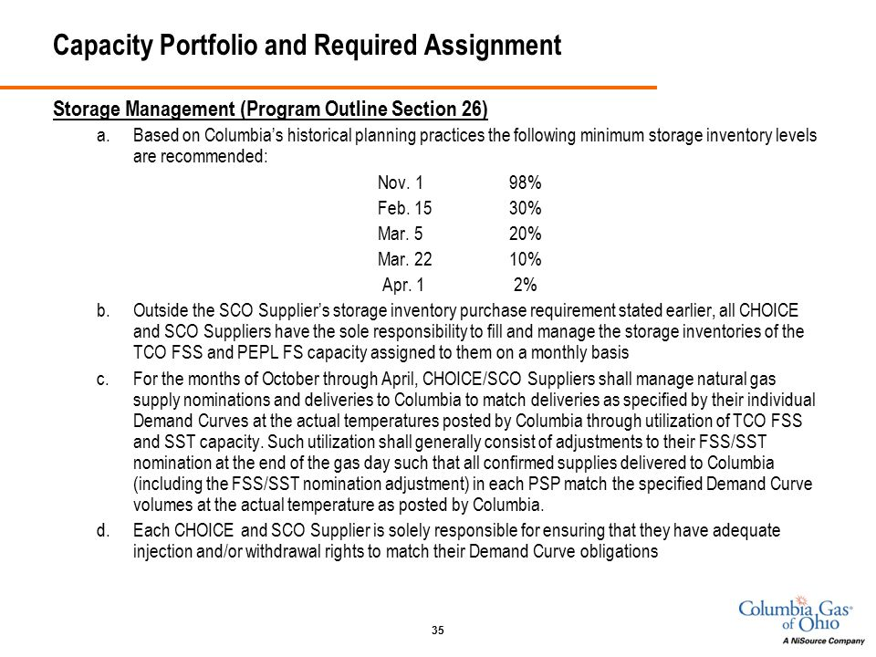 35 Capacity Portfolio and Required Assignment Storage Management (Program Outline Section 26) a.Based on Columbia's historical planning practices the following minimum storage inventory levels are recommended: Nov.