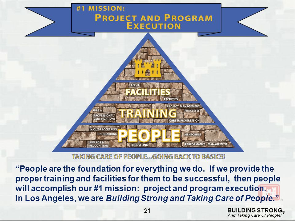 "BUILDING STRONG ® And Taking Care Of People! 21 ""People are the foundation for everything we do. If we provide the proper training and facilities for"