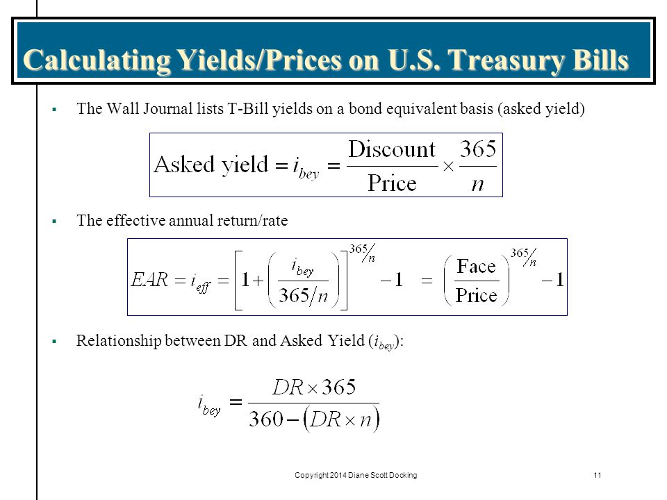 Copyright 2014 Diane Scott Docking11 Calculating Yields/Prices on U.S.
