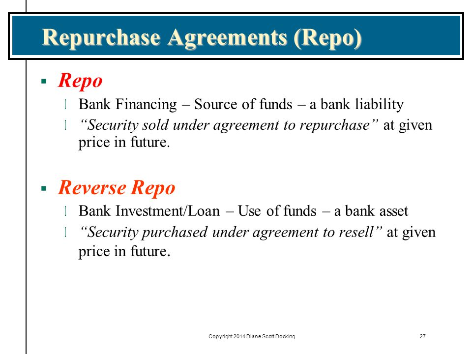 Copyright 2014 Diane Scott Docking27 Repurchase Agreements (Repo)  Repo l Bank Financing – Source of funds – a bank liability l Security sold under agreement to repurchase at given price in future.