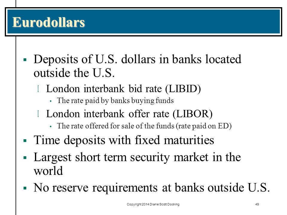 49 Eurodollars  Deposits of U.S.dollars in banks located outside the U.S.