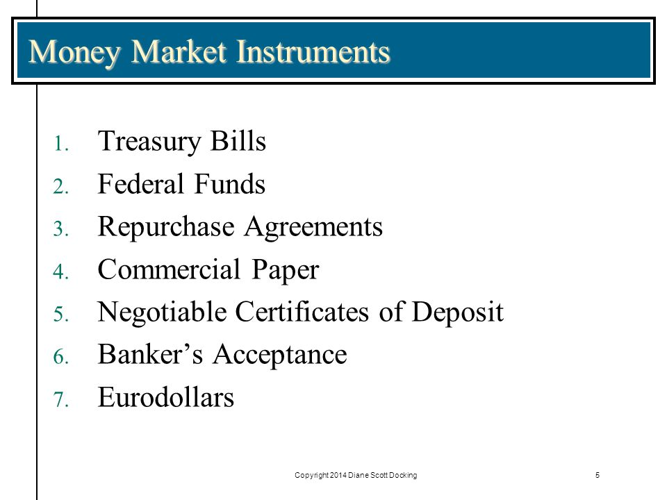Copyright 2014 Diane Scott Docking5 Money Market Instruments 1.