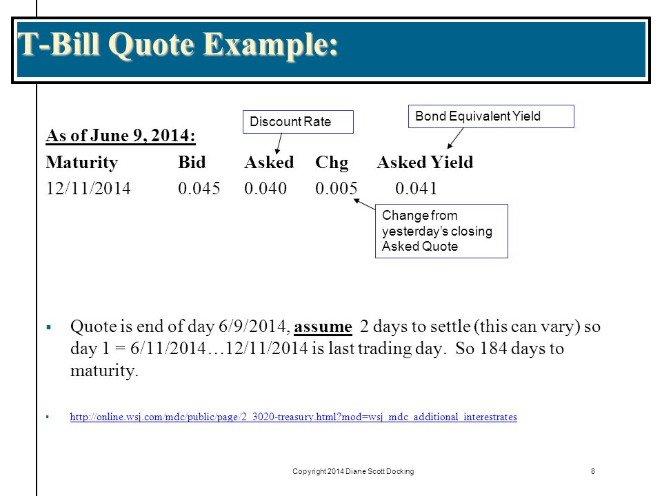 Copyright 2014 Diane Scott Docking8 T-Bill Quote Example: As of June 9, 2014: MaturityBidAsked ChgAsked Yield 12/11/20140.0450.040 0.005 0.041  Quote is end of day 6/9/2014, assume 2 days to settle (this can vary) so day 1 = 6/11/2014…12/11/2014 is last trading day.