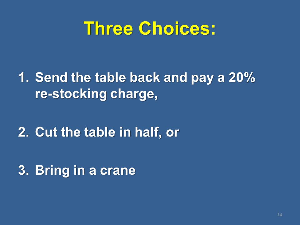 Three Choices: 1.Send the table back and pay a 20% re-stocking charge, 2.Cut the table in half, or 3.Bring in a crane 14