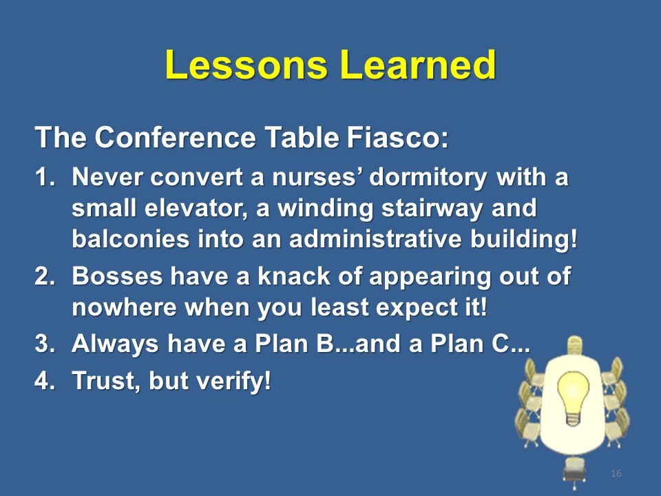 Lessons Learned The Conference Table Fiasco: 1.Never convert a nurses' dormitory with a small elevator, a winding stairway and balconies into an administrative building.