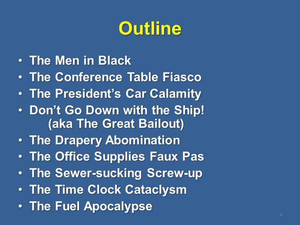 Outline The Men in BlackThe Men in Black The Conference Table FiascoThe Conference Table Fiasco The President's Car CalamityThe President's Car Calami