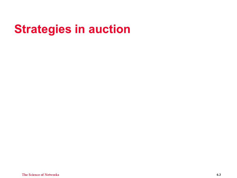 The Science of Networks 6.3 Strategies in auction