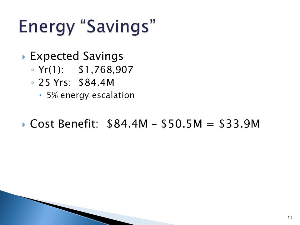  Expected Savings ◦ Yr(1):$1,768,907 ◦ 25 Yrs:$84.4M  5% energy escalation  Cost Benefit: $84.4M – $50.5M = $33.9M 11
