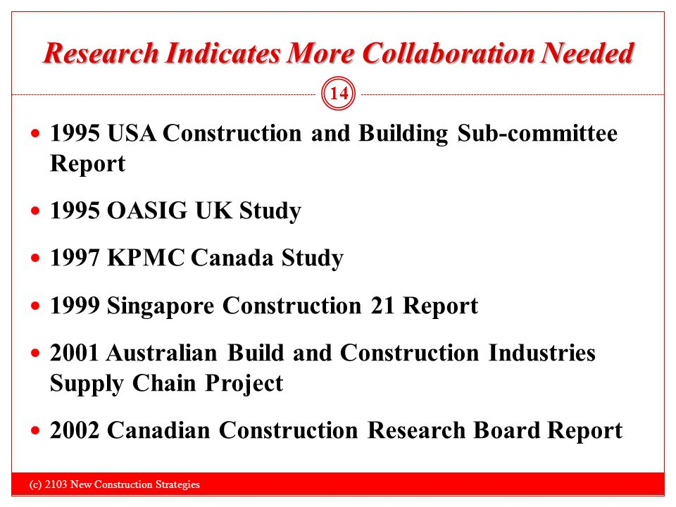 Research Indicates More Collaboration Needed 1995 USA Construction and Building Sub-committee Report 1995 OASIG UK Study 1997 KPMC Canada Study 1999 S