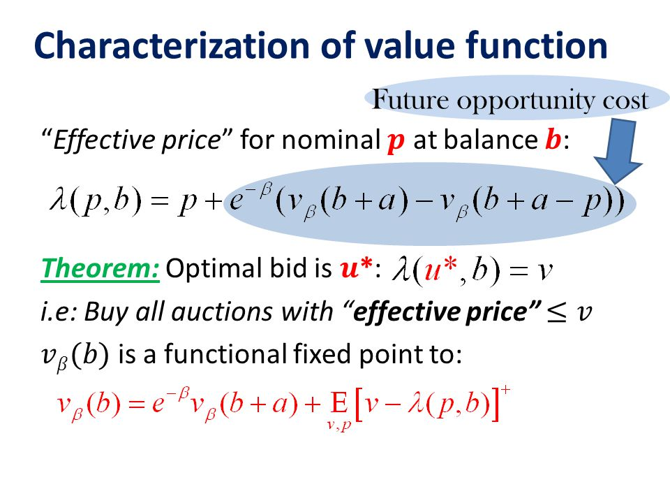Future opportunity cost Characterization of value function