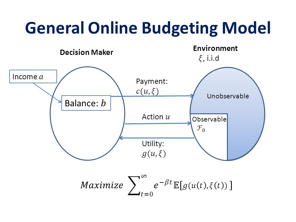 General Online Budgeting Model Decision Maker Unobservable