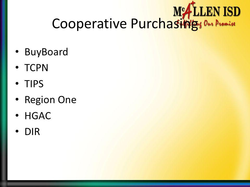 Cooperative Purchasing BuyBoard TCPN TIPS Region One HGAC DIR