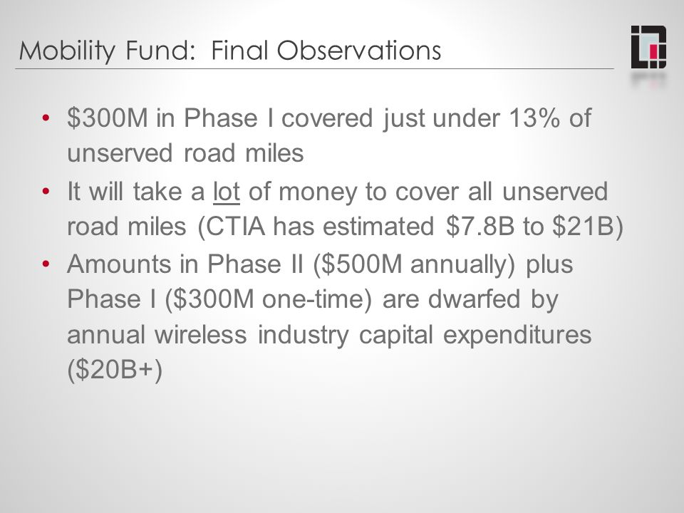 Mobility Fund: Final Observations $300M in Phase I covered just under 13% of unserved road miles It will take a lot of money to cover all unserved roa
