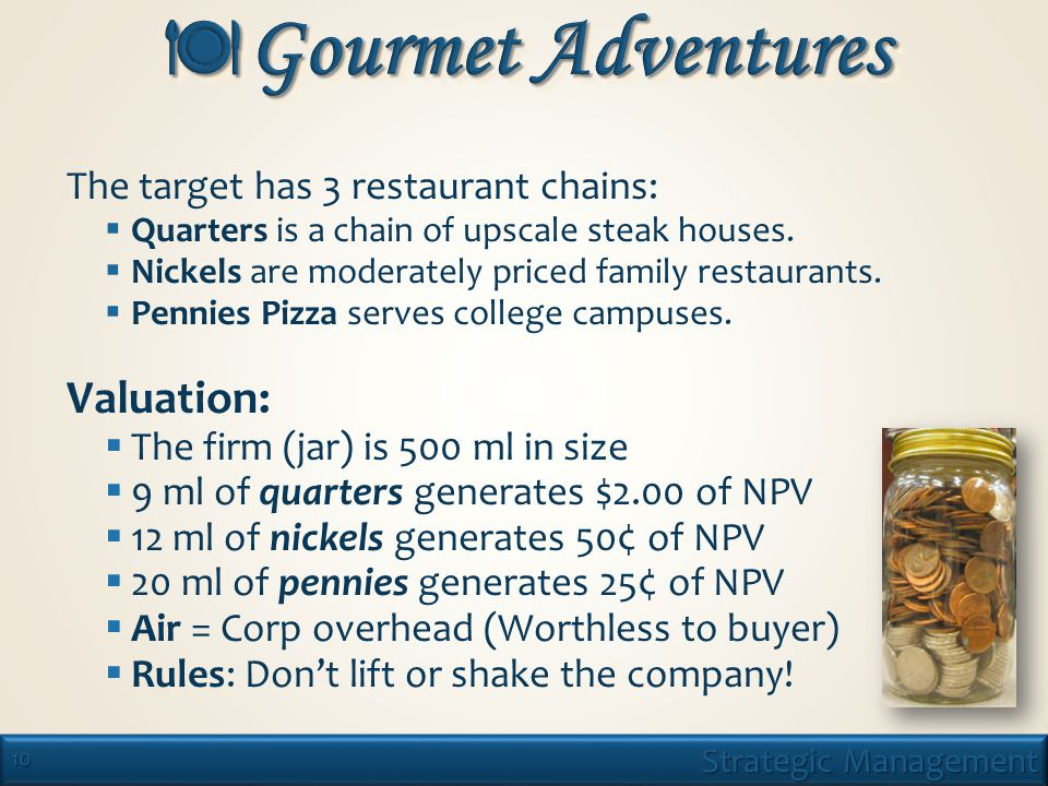 10 The target has 3 restaurant chains:  Quarters is a chain of upscale steak houses.