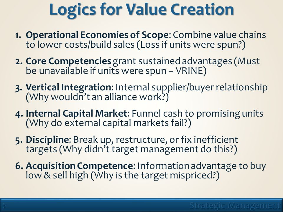 5 Strategic Management Logics for Value Creation 1.Operational Economies of Scope: Combine value chains to lower costs/build sales (Loss if units were spun ) 2.Core Competencies grant sustained advantages (Must be unavailable if units were spun – VRINE) 3.Vertical Integration: Internal supplier/buyer relationship (Why wouldn't an alliance work ) 4.Internal Capital Market: Funnel cash to promising units (Why do external capital markets fail ) 5.Discipline: Break up, restructure, or fix inefficient targets (Why didn't target management do this ) 6.Acquisition Competence: Information advantage to buy low & sell high (Why is the target mispriced )