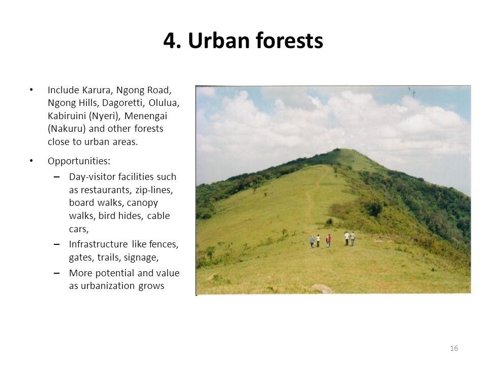 4. Urban forests Include Karura, Ngong Road, Ngong Hills, Dagoretti, Olulua, Kabiruini (Nyeri), Menengai (Nakuru) and other forests close to urban are