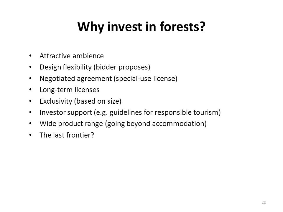 Why invest in forests? Attractive ambience Design flexibility (bidder proposes) Negotiated agreement (special-use license) Long-term licenses Exclusiv