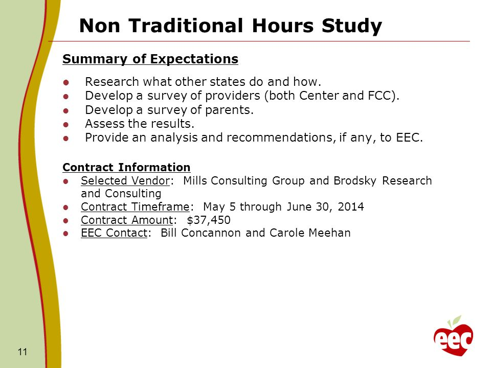 Non Traditional Hours Study Summary of Expectations Research what other states do and how. Develop a survey of providers (both Center and FCC). Develo