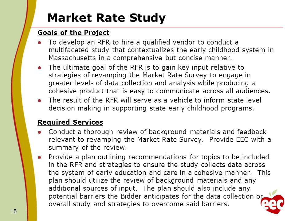 Market Rate Study Goals of the Project To develop an RFR to hire a qualified vendor to conduct a multifaceted study that contextualizes the early chil