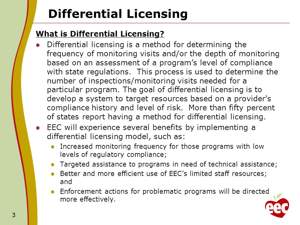 Differential Licensing What is Differential Licensing? Differential licensing is a method for determining the frequency of monitoring visits and/or th