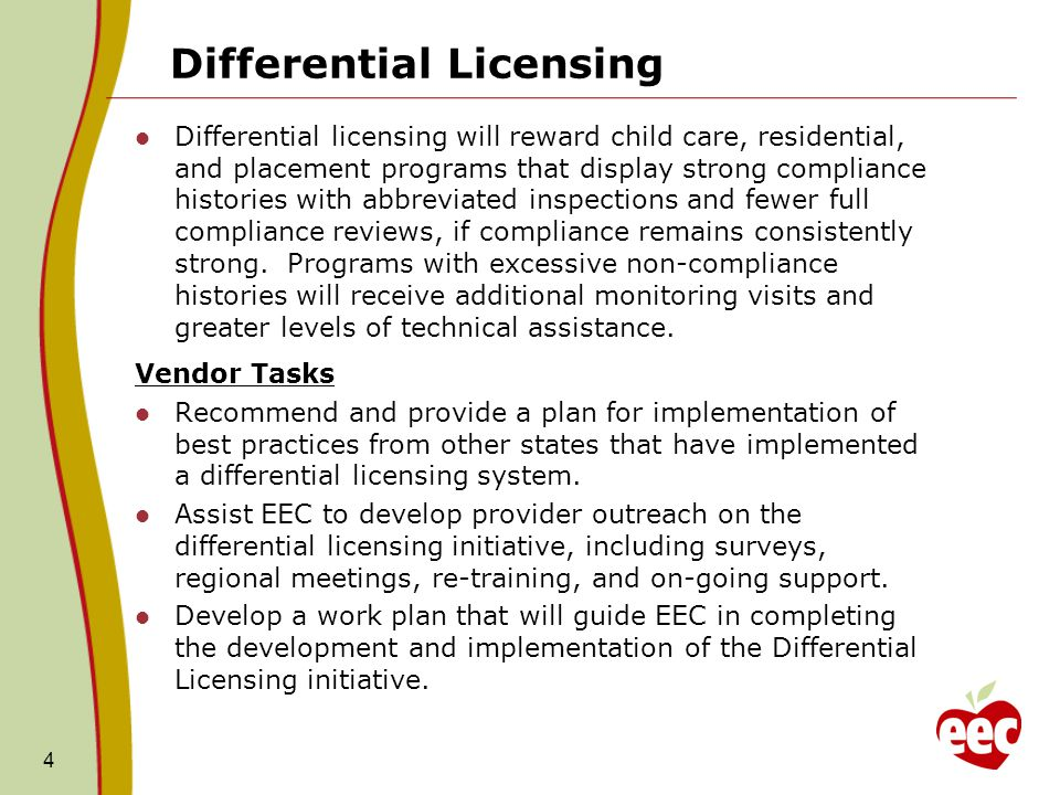 Differential Licensing Differential licensing will reward child care, residential, and placement programs that display strong compliance histories with abbreviated inspections and fewer full compliance reviews, if compliance remains consistently strong.