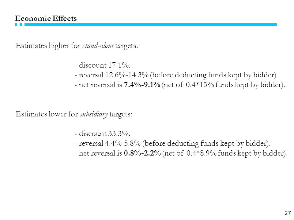 27 Economic Effects Estimates higher for stand-alone targets: - discount 17.1%.