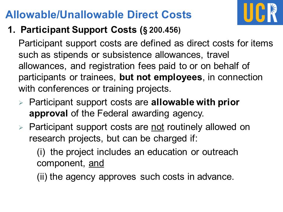 Allowable/Unallowable Direct Costs 1.