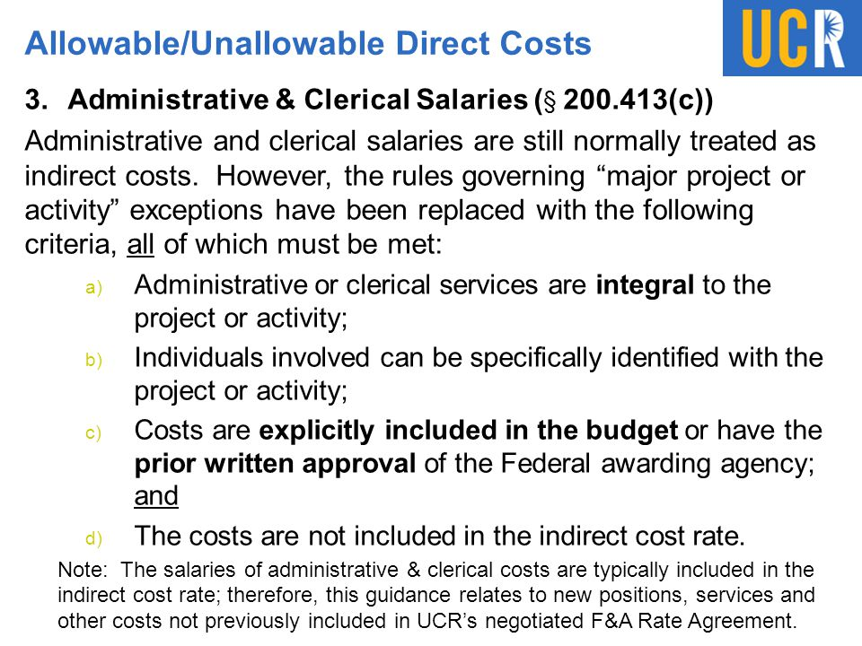 Allowable/Unallowable Direct Costs 3.