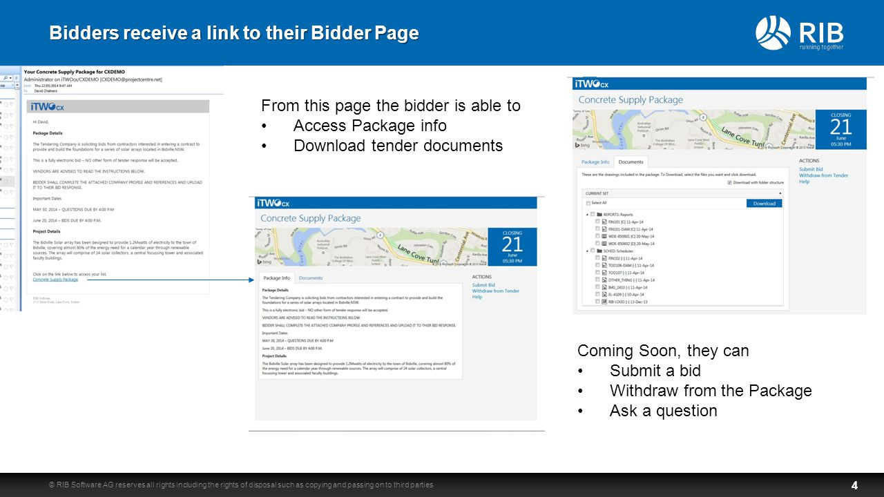 Bidders receive a link to their Bidder Page © RIB Software AG reserves all rights including the rights of disposal such as copying and passing on to third parties4 From this page the bidder is able to Access Package info Download tender documents Coming Soon, they can Submit a bid Withdraw from the Package Ask a question