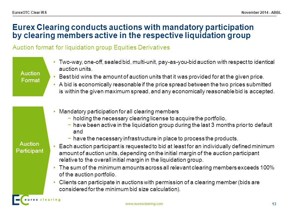 www.eurexclearing.com EurexOTC Clear IRSNovember 2014 - ABBL Eurex Clearing conducts auctions with mandatory participation by clearing members active in the respective liquidation group 13 Auction format for liquidation group Equities Derivatives Auction Participant Auction Format Two-way, one-off, sealed bid, multi-unit, pay-as-you-bid auction with respect to identical auction units.