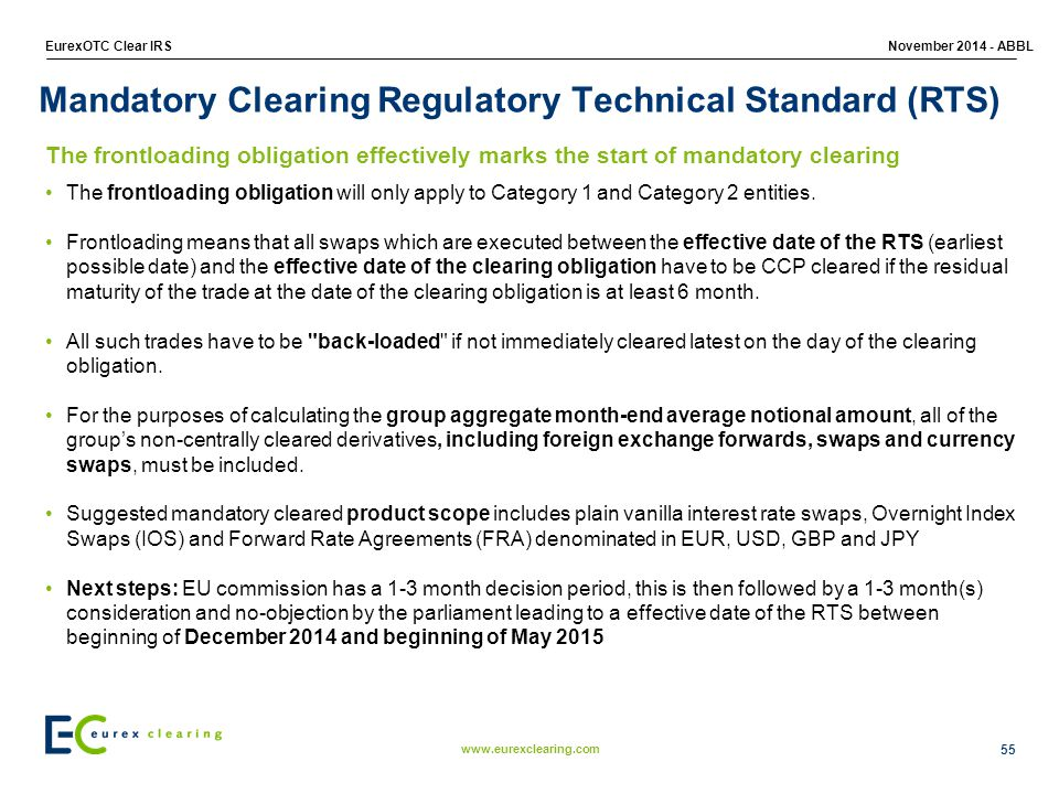 www.eurexclearing.com EurexOTC Clear IRSNovember 2014 - ABBL Mandatory Clearing Regulatory Technical Standard (RTS) The frontloading obligation will only apply to Category 1 and Category 2 entities.