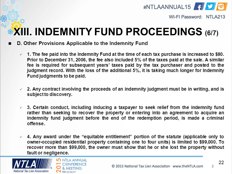 XIII. INDEMNITY FUND PROCEEDINGS (6/7) D. Other Provisions Applicable to the Indemnity Fund 1.