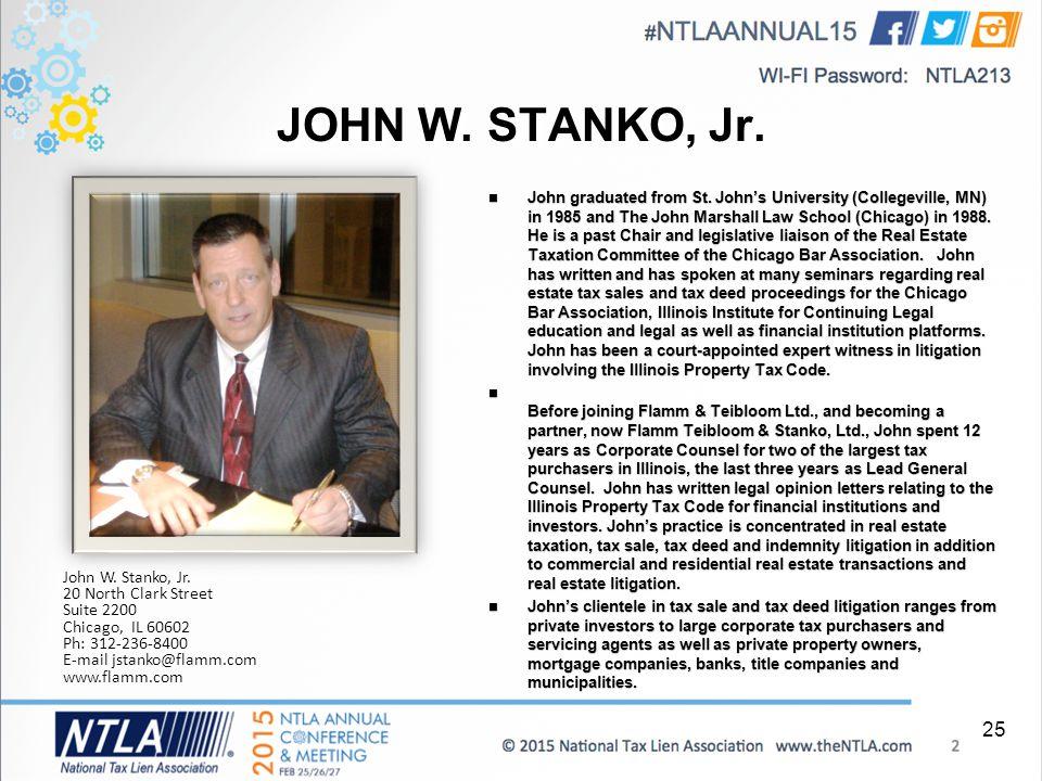 JOHN W. STANKO, Jr. John graduated from St.