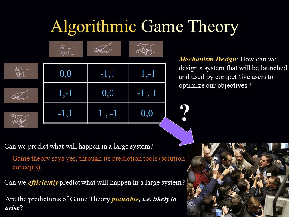 Algorithmic Game Theory 0,0-1,1 1,-1 0,0-1, 1 1, -10,0 .