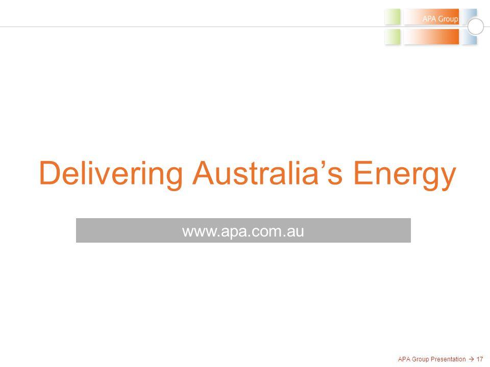 APA Group Presentation  17 Delivering Australia's Energy www.apa.com.au