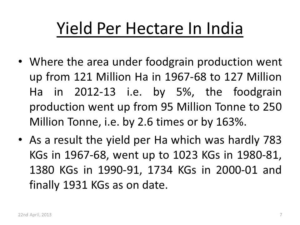 Yield Per Hectare In India 22nd April, 20137 Where the area under foodgrain production went up from 121 Million Ha in 1967-68 to 127 Million Ha in 201