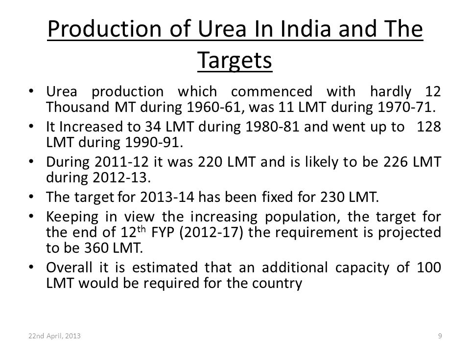 Production of Urea In India and The Targets Urea production which commenced with hardly 12 Thousand MT during 1960-61, was 11 LMT during 1970-71. It I