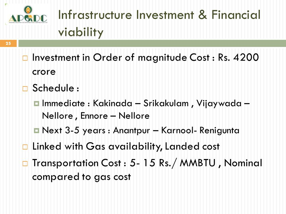 Infrastructure Investment & Financial viability 25  Investment in Order of magnitude Cost : Rs. 4200 crore  Schedule :  Immediate : Kakinada – Srik
